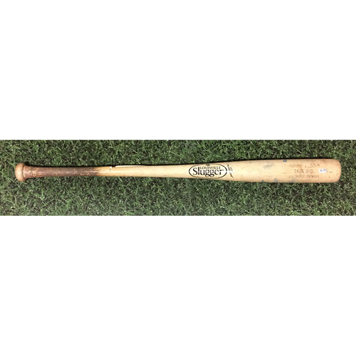 Photo of Caleb Gindl 2014 Game-Used Cracked Bat - Broken Facing CC Sabathia
