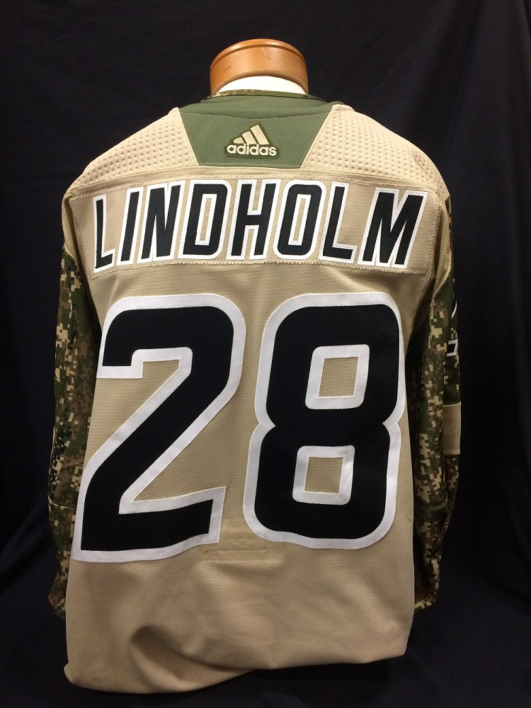 Elias Lindholm #28 Autographed Military Appreciation Jersey