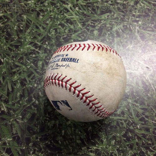 Photo of Game-Used Baseball CLE@MIL  05/08/18 - Brent Suter - Francisco Lindor: Foul Ball