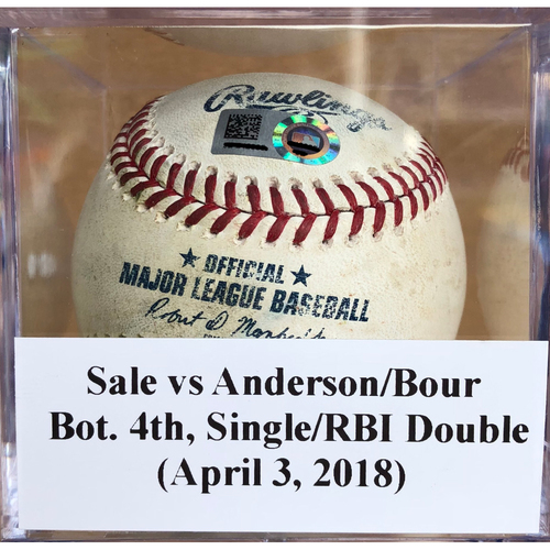Photo of Game-Used Baseball: Chris Sale vs Brian Anderson & Justin Bour - Single & RBI Double (April 3, 2018)