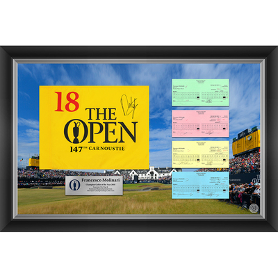 1 of 20 L/E Francesco Molinari, The 147th Open 1,2,3 & Final Round Scorecard Reproductions and Autographed Souvenir Pin Flag Framed