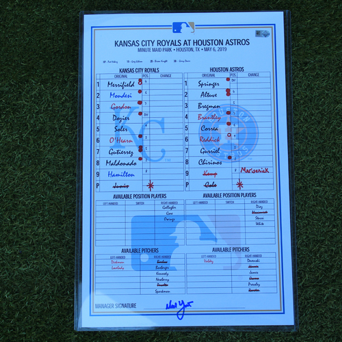 Photo of Game-Used Line-Up Card: Carlos Correa Homers to Extend Hit Streak to 16 Games (KC @ HOU- 5/06/19)