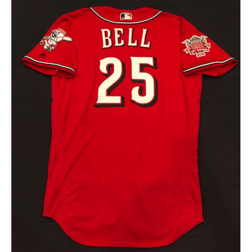 "Photo of David Bell -- Team-Issued ""Los Rojos"" Jersey -- D-backs vs. Reds on 9/6/19 -- Jersey Size 44"