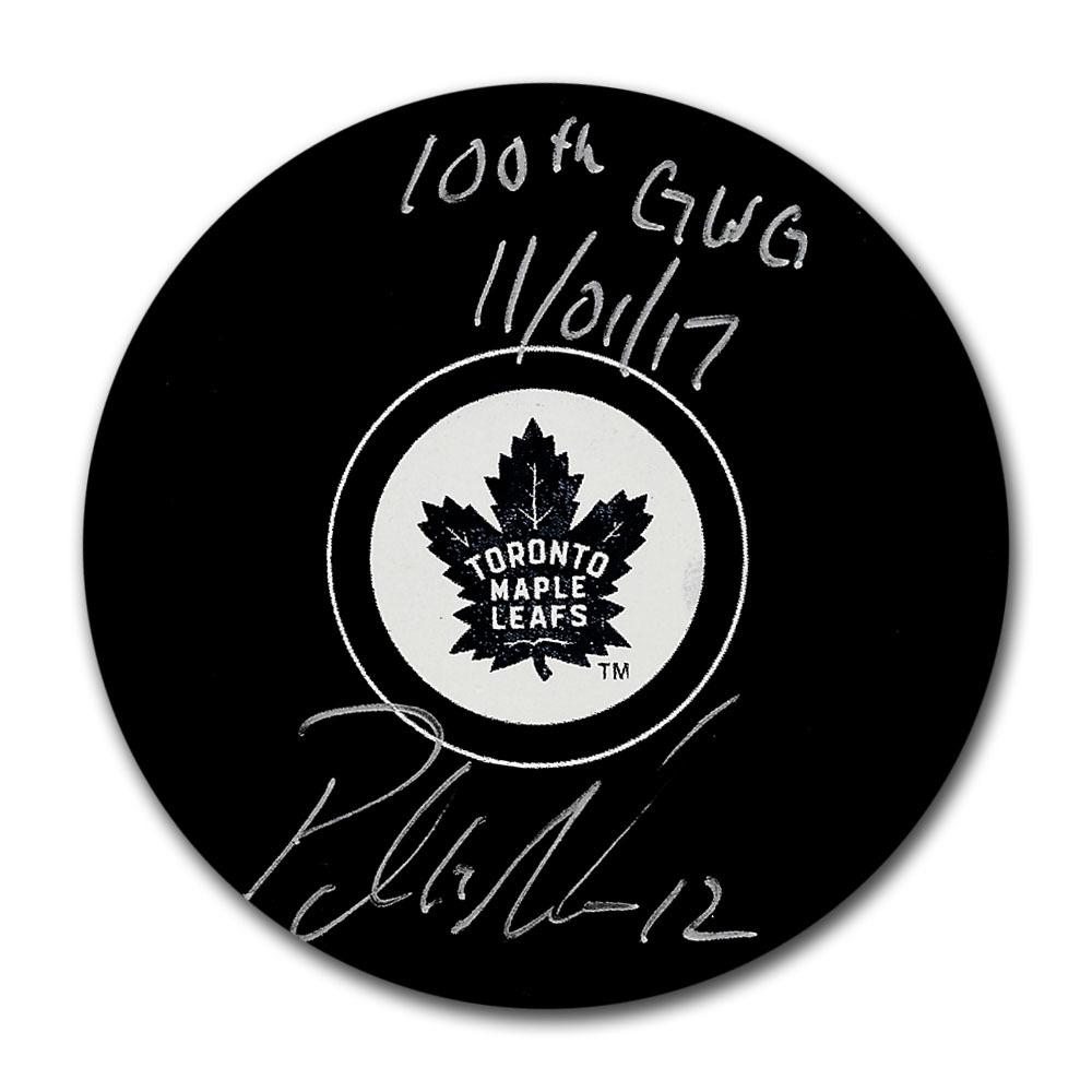 Patrick Marleau Autographed Toronto Maple Leafs Puck w/100TH GWG 11/01/17 Inscription