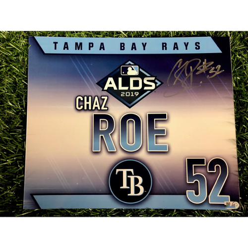 Photo of Game Used ALDS Autographed Locker Tag: Chaz Roe - October 7, 2019 v HOU