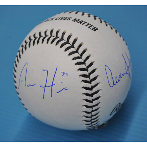 MLB Opening Day Auction Supporting The Players Alliance - Autographed Black Lives Matter Baseball - Aaron Hicks, Aaron Judge, and Giancarlo Stanton