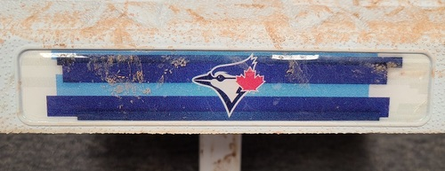 Photo of Authenticated Game Used Base: 1st Base for Innings 1 to 3 (Sep 27, 2020). Final Blue Jays Regular Season Game of 2020. In place for Vladimir Guerrero Jr. Home Run.