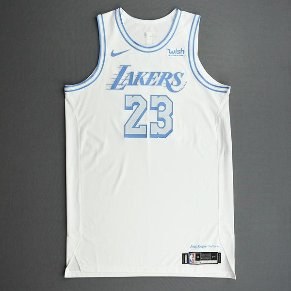 Image of LeBron James - Los Angeles Lakers - Christmas Day' 20 - Game-Worn City Edition Jersey - Double-Double - 2nd in NBA History in Christmas Day Points ...