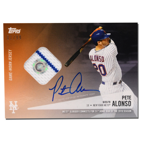 Photo of Pete Alonso #20 - Autographed Limited Edition of 99 Black Topps Card - Features Authenticated Game Used Jersey from 2019 Rookie of the Year Campaign - Alonso Hits 51st HR on 9/25/19
