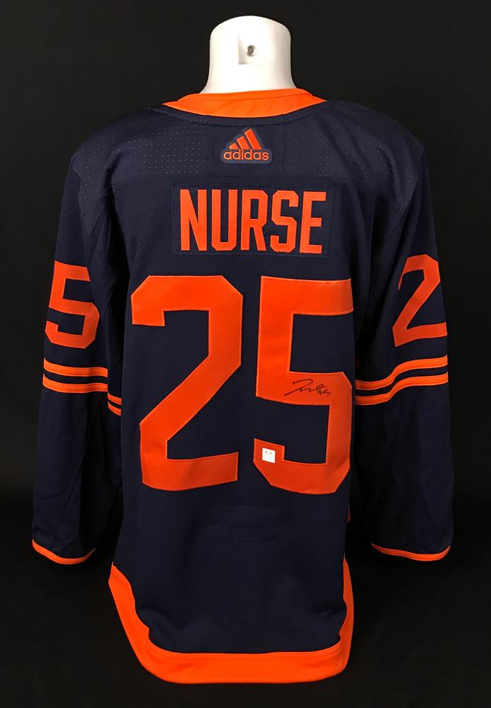 Darnell Nurse #25 - Autographed Edmonton Oilers Navy Blue Adidas Retail Pro Authentic Alternate Jersey