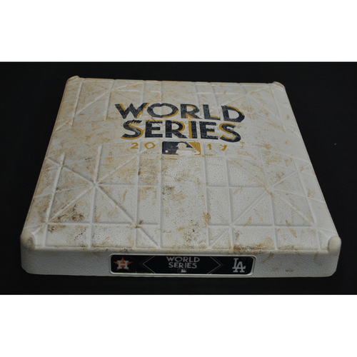 Photo of Game-Used Base - 2017 World Series Game 6 - Houston Astros vs. Los Angeles Dodgers - 1st Base Innings 5-6