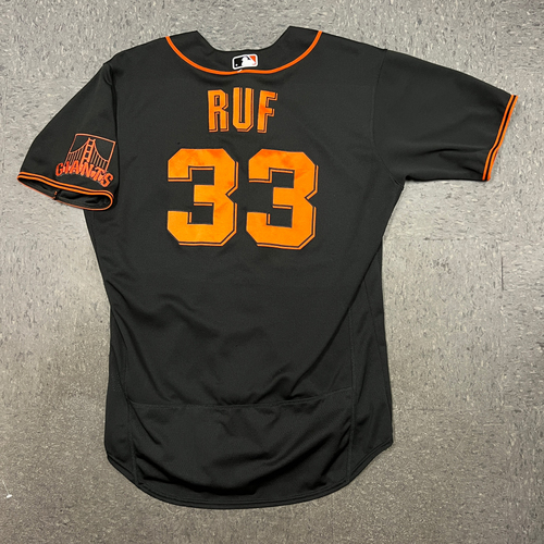 Photo of 2021 Game Used Black Home Alt Jersey worn by #33 Darin Ruf on 4/24 vs. MIA & 9/4 vs. LAD - Size 46