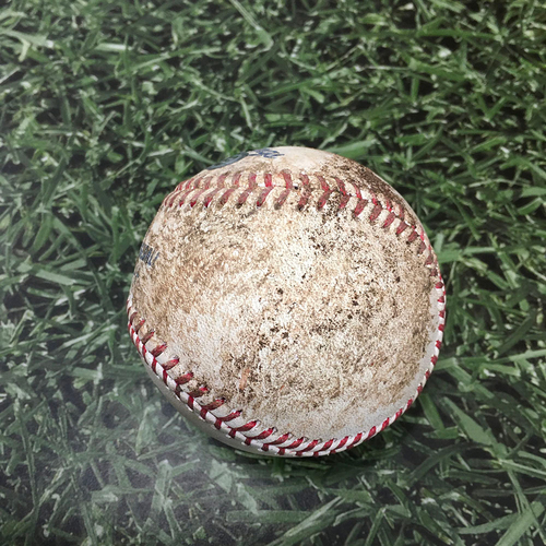 Photo of Game-Used Baseball ATL@MIL 10/09/21 (NLDS Game 2) - Brandon Woodruff - Max Fried: Strikeout (Woodruff's 35th Career Strikeout, 3rd of 2021)