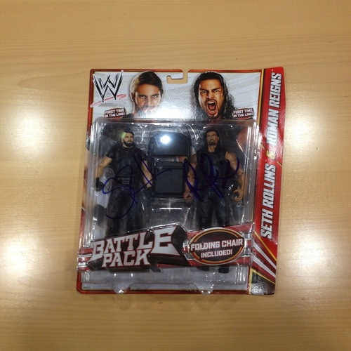 SIGNED Seth Rollins & Roman Reigns Mattel Series 24 The Shield Battle Pack Figures