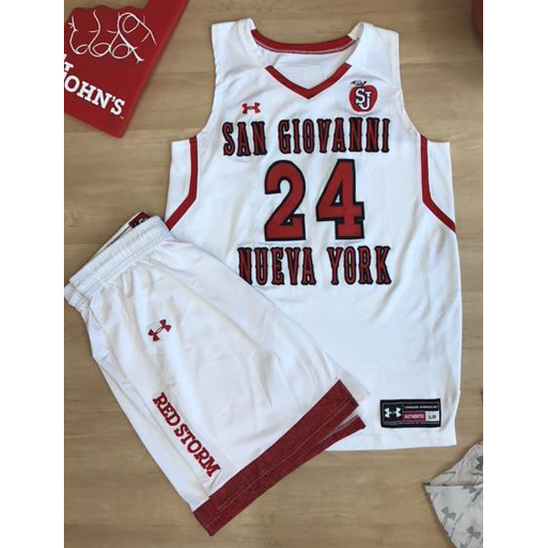 Photo of White Under Armour St. John's Women's Basketball Jersey in size Large and White Under Armour Women&apo...