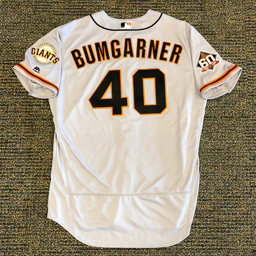 Photo of San Francisco Giants - 2018 Opening Day Team Issued Road Jersey - #40 Madison Bumgarner - Jersey Size 50