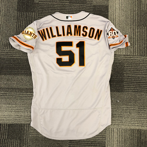 Photo of 2018 Team Issued Road Gray Alt Jersey - #51 Mac Williamson - Size 46
