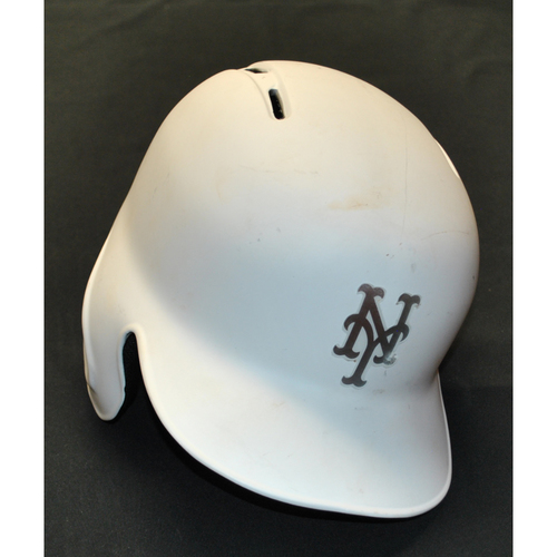 "Photo of Joe ""J.P."" Panik New York Mets Game-Used 2019 Players' Weekend Helmet"