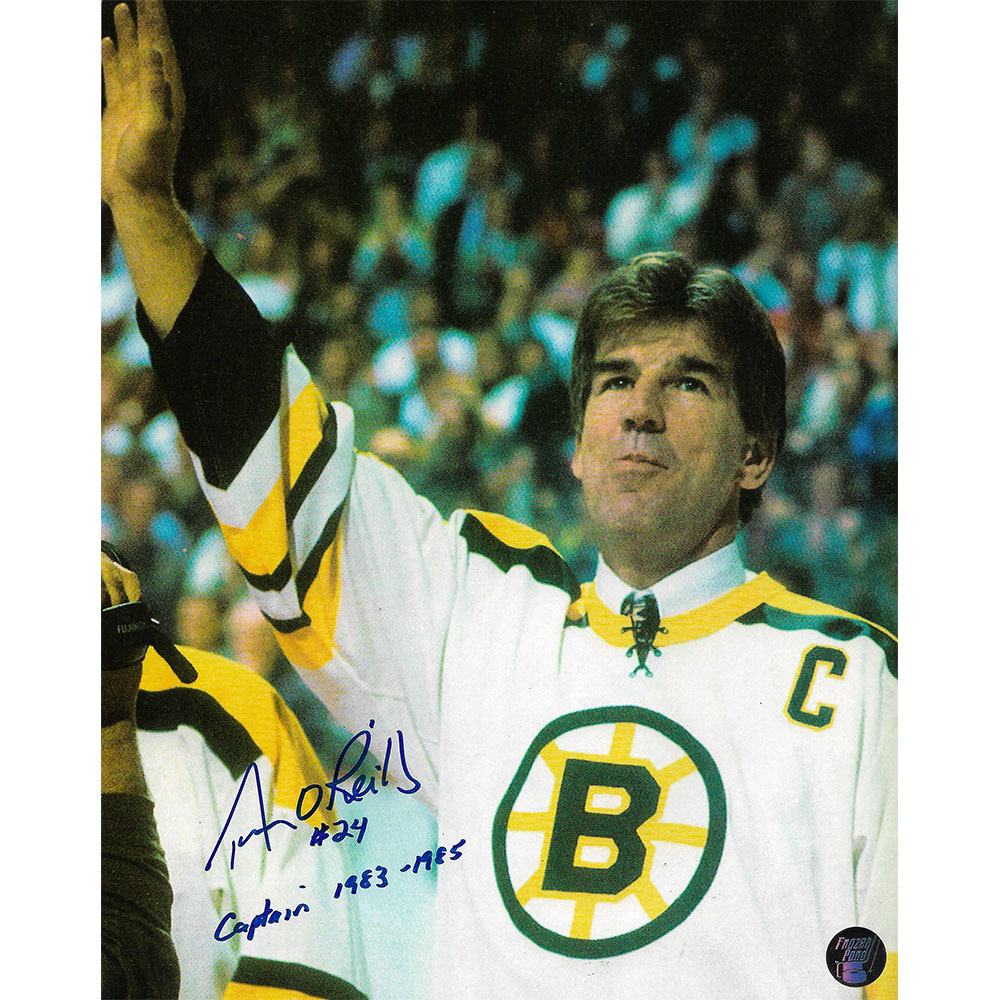Terry O'Reilly Autographed Boston Bruins 8X10 Photo w/CAPTAIN 1983-1985 Inscription