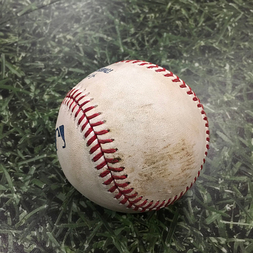 Photo of Game-Used Baseball ARI@MIL 05/23/18 - Zack Godley - Christian Yelich: Double