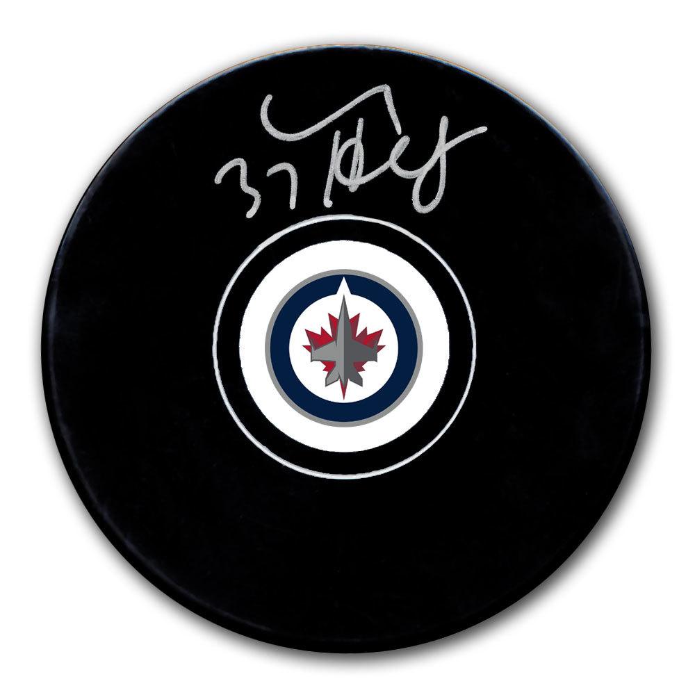 Connor Hellebuyck Winnipeg Jets Autographed Puck