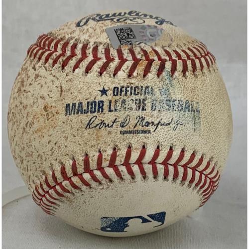 Photo of 2021 Game-Used Baseball - Pitcher: Framber Valdez, Batter: Gleyber Torres - RBI Single - Top 5 - 7/11/21