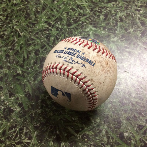 Photo of Game-Used Baseball CLE@MIL  05/09/18 - Carlos Carrasco - Christian Yelich: Strikeout Swinging