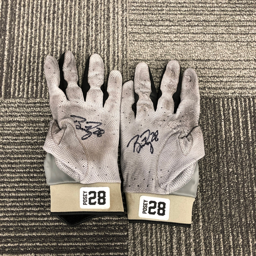 Photo of 2018 Holiday Deal! - Autographed Team Issued Gray & Orange Batting Gloves (Player Collected) - #28 Buster Posey
