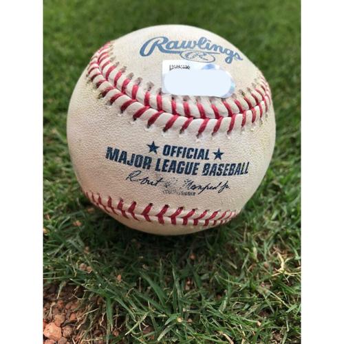Photo of Game-Used Baseball -  Ronald Guzman Double - 4/3/19