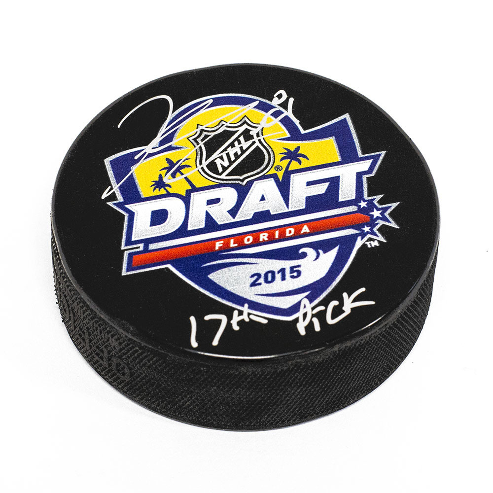 Kyle Connor 2015 NHL Draft Puck Autographed with 17th Pick Inscription *Winnipeg Jets*