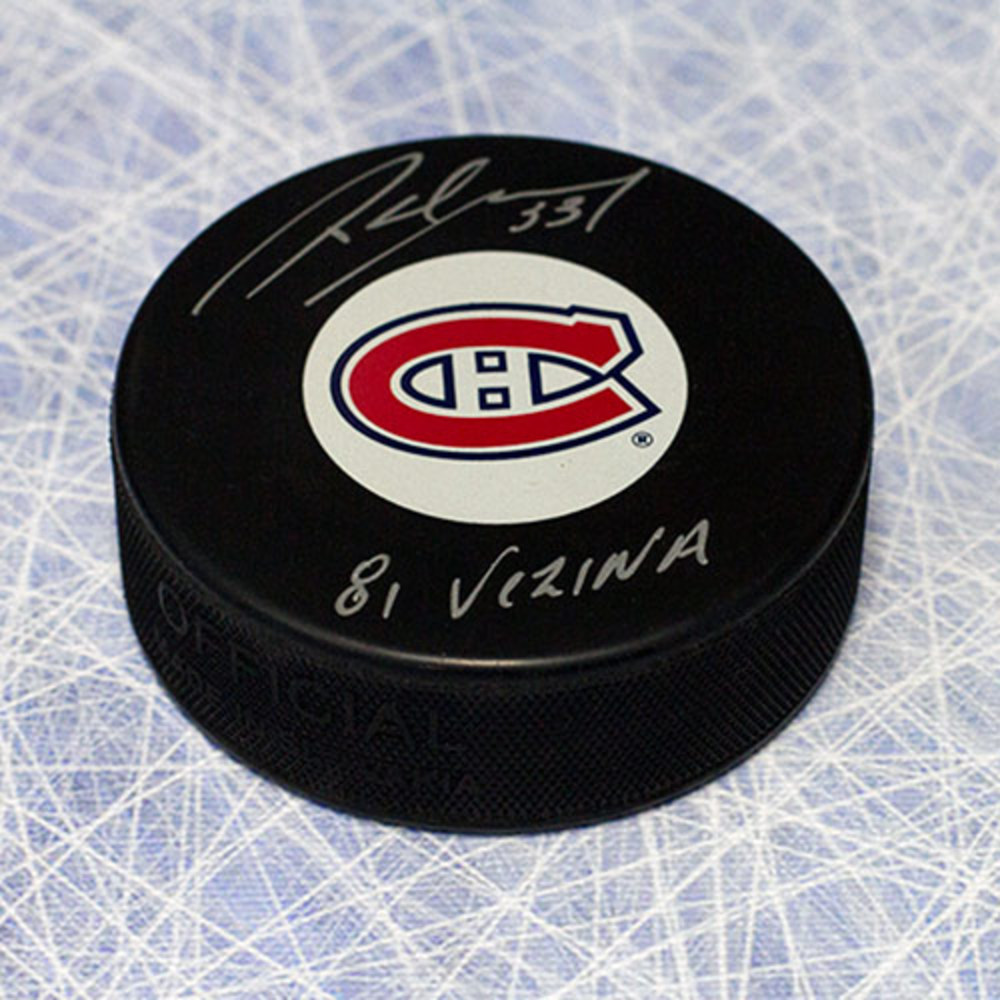 Richard Sevigny Montreal Canadiens Autographed Hockey Puck w/ 81 Vezina Note