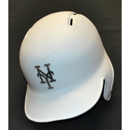 "Photo of Rajai ""RAJ"" Davis New York Mets Game-Used 2019 Players' Weekend Helmet"