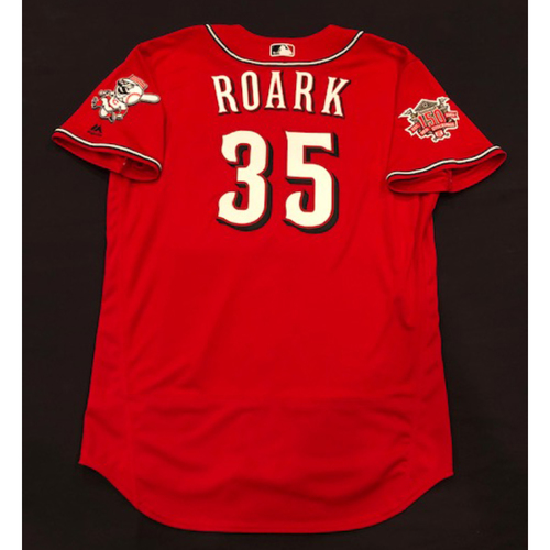 "Photo of Tanner Roark -- Team-Issued ""Los Rojos"" Jersey -- D-backs vs. Reds on 9/6/19 -- Jersey Size 48"