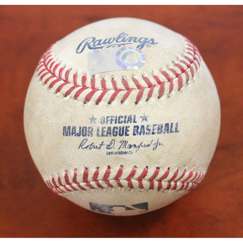 Photo of Game-Used Baseball: Pitcher - Homer Bailey, Batter - Logan Forsythe, Strikeout - Jeff Mathis 2B & Danny Santana 2-RBI 3B - 7/27/19 vs TEX