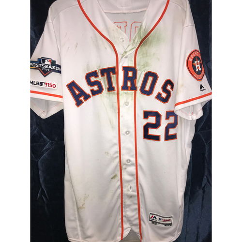 Photo of 2019 Game-Used Josh Reddick ALCS Games 1, 2 and 6 Home White Jersey (Size 46)