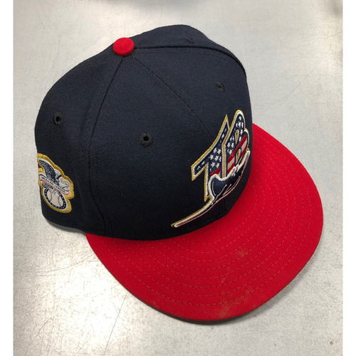 Photo of Stars and Stripes Game Used Cap: Michael Brosseau (ROOKIE SEASON) - July 7, 2019 v NYY
