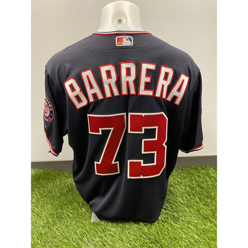 Photo of Team-Issued Tres Barrera 2019 Navy Script Jersey with Postseason Patch
