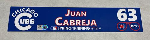 Photo of Juan Cabreja 2021 Spring Training Locker Nameplate