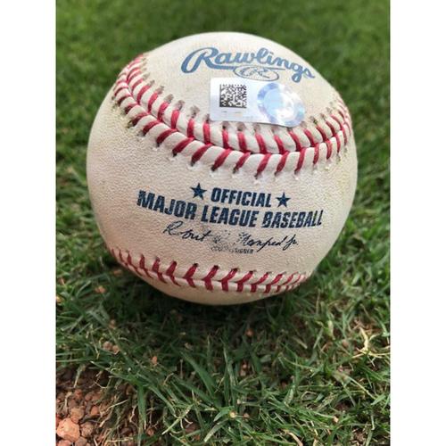 Photo of Game-Used Baseball - OAK @ TEX  - 8/13/21 - P: DENNIS SANTANA  B: YAN GOMES/MITCH MORELAND - 1B/3B (1)/RBI
