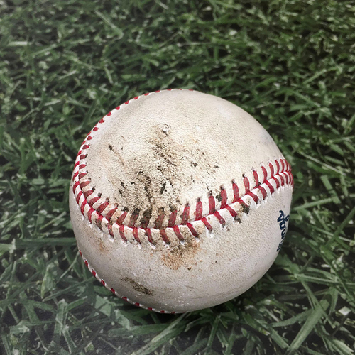Photo of Game-Used Baseball ATL@MIL 10/09/21 (NLDS Game 2) - Brandon Woodruff - Freddie Freeman: Foul