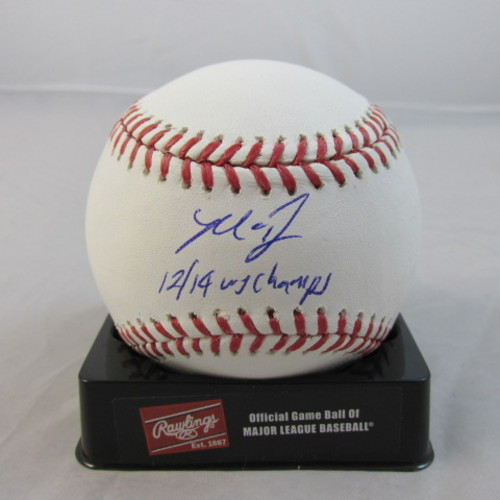 "Photo of Madison Bumgarner Autographed ""12, 14 WS Champs"" Baseball"