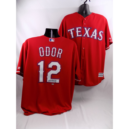 Photo of Rougned Odor Autographed Scarlet Texas Rangers Jersey