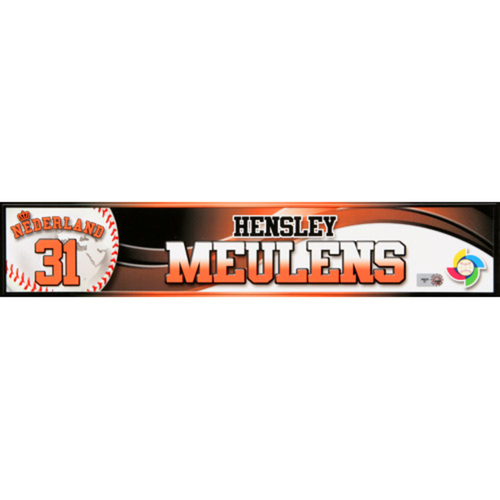 2013 WBC: Netherlands Game-Used Locker Name Plate - #31 Hensley Meulens
