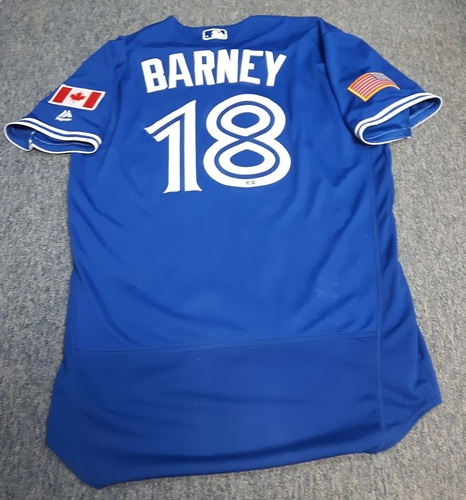 Photo of Authenticated Game Used Jersey - #18 Darwin Barney (July 4, 2016 - Independence Day): 1-for-3 with 1 Run and 2 RBIs. Size 44.