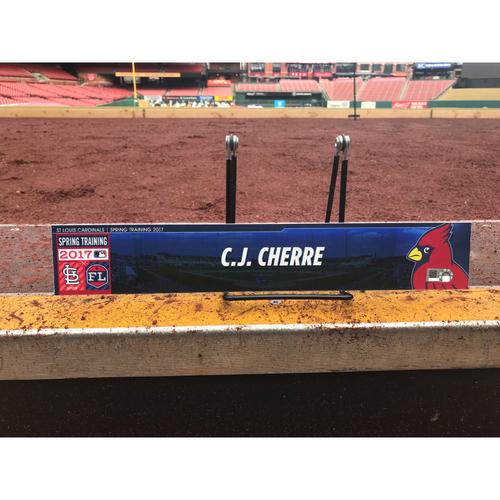 Photo of Cardinals Authentics: C.J. Cherre Team-Issued Spring Training Locker Tag