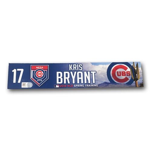 Photo of Kris Bryant Team-Issued Locker Nameplate -- 2018 Spring Training