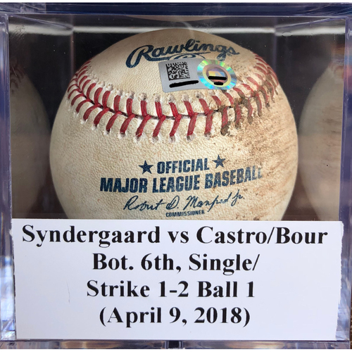 Photo of Game-Used Baseball: Noah Syndergaard vs Starlin Castro & Justin Bour - Single & 2 Strikes, 1 Ball (April 9 , 2018)