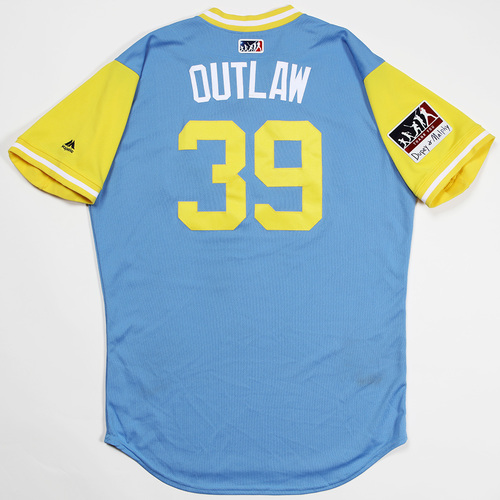 "Photo of Kevin ""Outlaw"" Kiermaier Tampa Bay Rays Game-Used 2018 Players' Weekend Jersey"
