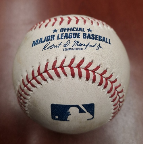 Photo of Authenticated Game Used Baseball - Double by Mitch Moreland against Edwin Jackson (May 20, 19 vs BOS). Top 3