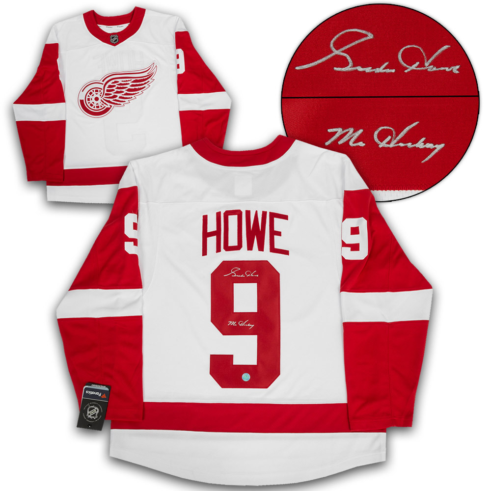 new style 23db3 e424c Gordie Howe Detroit Red Wings Signed Mr. Hockey White ...